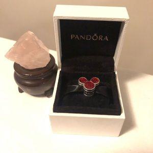 Disney Pandora Charm Mickey Mouse Red Glitter